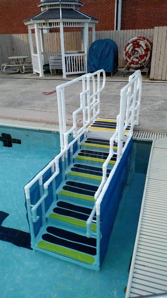 above ground pool steps for handicap