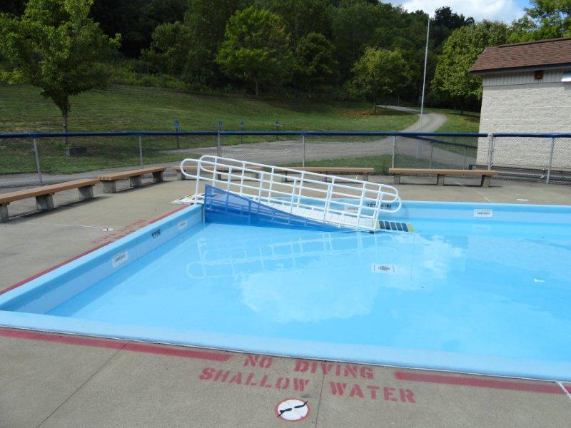 Aquatrek wading pool ramp - Above ground pool steps for handicap ...