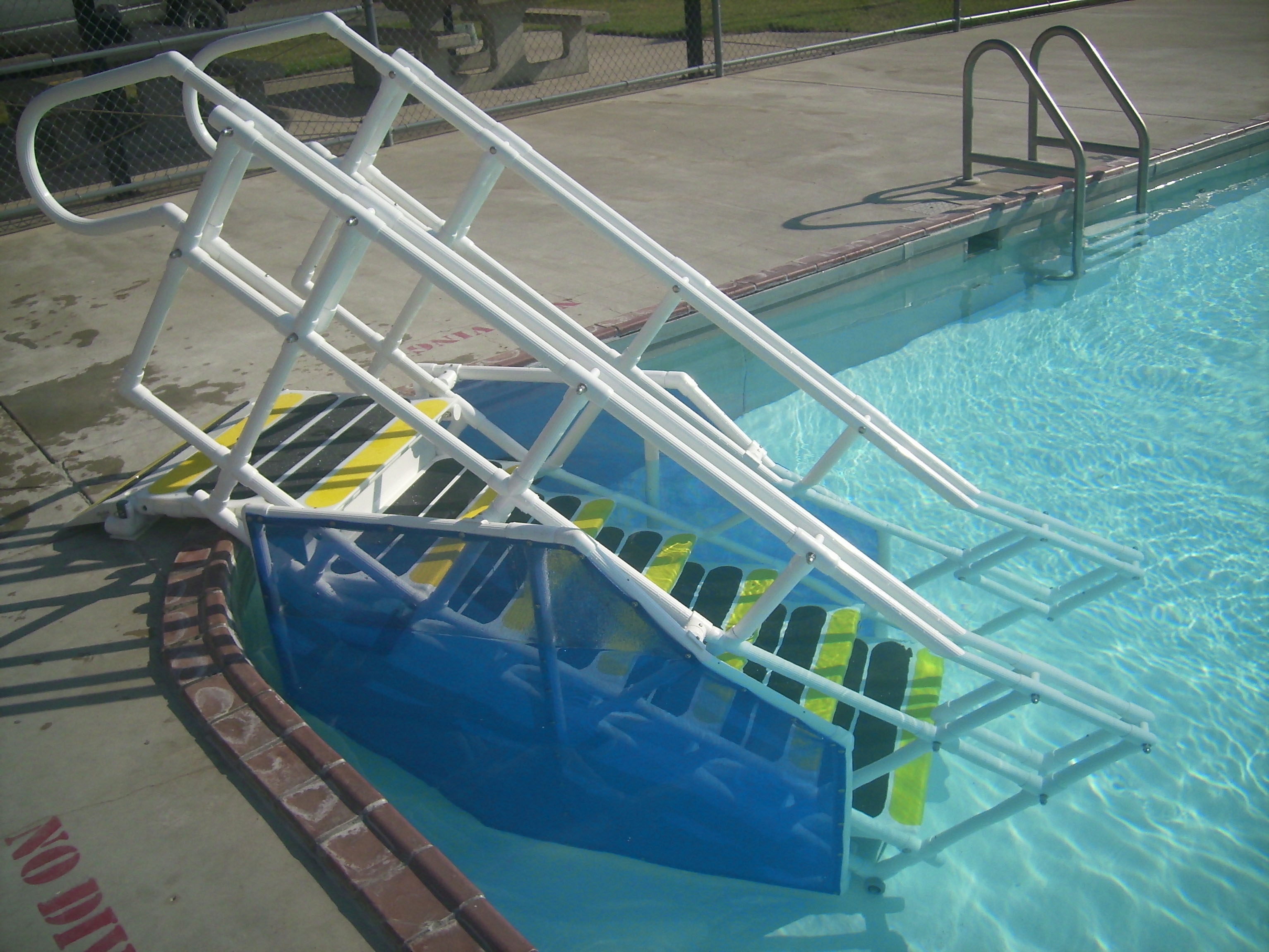 ADA pool steps with skirts
